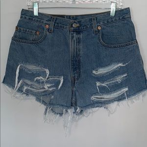 Levi's 560 Distressed High Waist Jeans Shorts